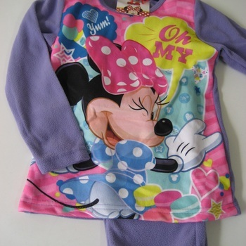 pyjama polaire minnie pour fille - mauve - reste 5 ans 6 ans