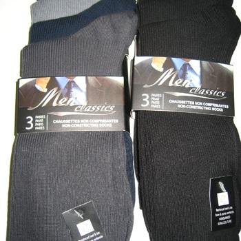 chaussettes sans élastique pour homme : 3 pour 3.50€