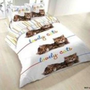 housse de couette 2.40*2.20m + 2 taies en coton - lovely cats