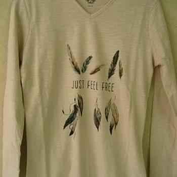 t-shirt coton longues manches écru avec plumes pour dame EN PROMO 36/38 40/42 48/52