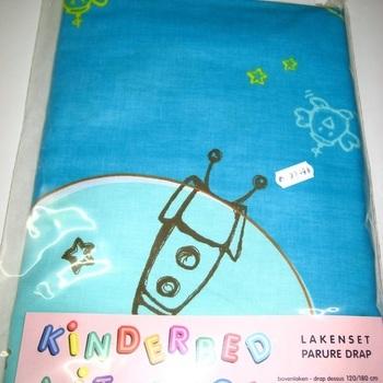 parure de draps imprimée en coton pour lit-cage - pois ciel blanc