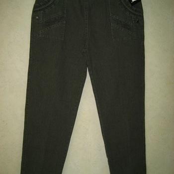 jeans taille élastique brodé aux poches pour dame - kaki 5
