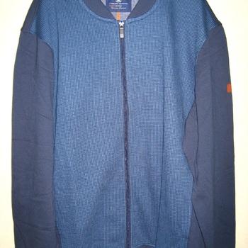 gilet tirette col mao dessin bleu dans tissu pour homme grandes tailles