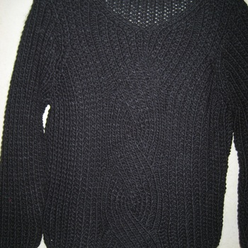 pull gros tricot torsade pour dame - S/M _ NOIR EN PROMO