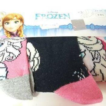 chaussettes reine des neiges 23/26 avec du coton pour filles - 3 paires pour 2.40€