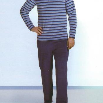 pyjama velours rasé pour homme - ligné bleu EN PROMO