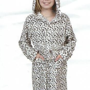 peignoir croisé doux & chaud avec cape pour filles - coeurs gris - reste 16 ans