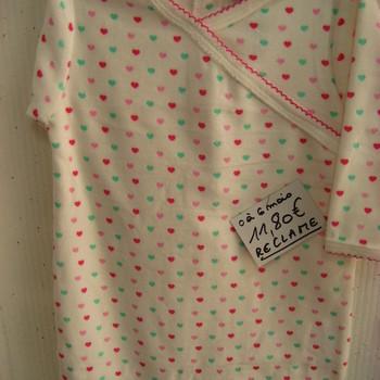 pyjama velours rasé cache-coeur imprimé coeurs