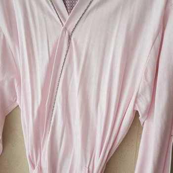 peignoir croisé coton catini rose pour dame - fabrication belge M & L