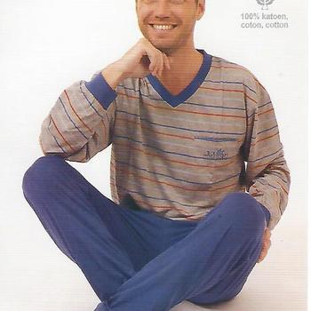 pyjama coton jersey pour homme - gris clair lignés rouge bleu