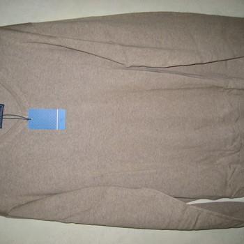 pull V en coton pour homme - grandes tailles - beige en PROMO 4XL - 5XL
