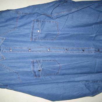 chemise longues manches en jeans pour homme - grandes tailles 6XL
