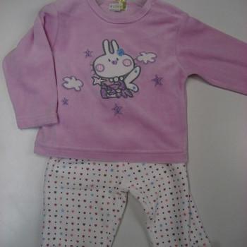 pyjama velours rasé 2 pièces lapin rose-blanc - reste 1 & 3 mois