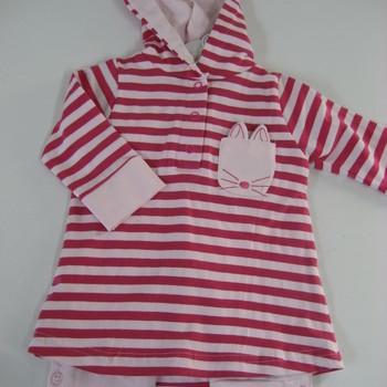 ensemble coton ligné rose - reste 1 & 3 mois