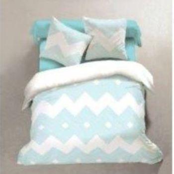 housse de couette 2.4*2.2m + 2 taies en coton pour lit de 2 personnes - zigzag turquoise
