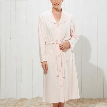 peignoir boutonné éponge pour dame avec ceinture - ajana ciel ou rose - S à 3XL