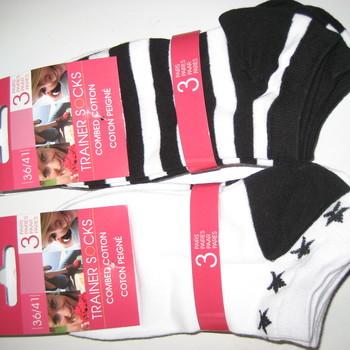 socquettes noir-blanc 36/41 - 3 paires pour 2.40€