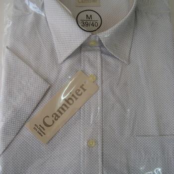 chemise courtes manches polyester-coton pour homme - cambier - petits motifs blanc ou marine