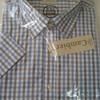chemise courtes manches polyester-coton pour homme - cambier - petits carreaux parme ou ciel - grandes tailles