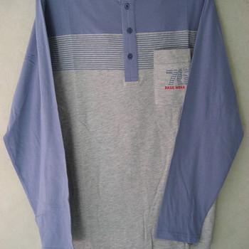 pyjama coton jersey 3 boutons chiné gris - bleu : cambier pour homme EN PROMO