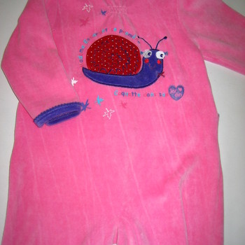 pyjama velours rasé rose avec escargot eskimo