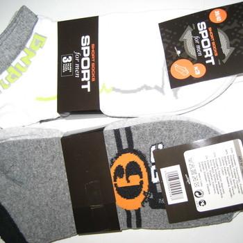socquettes coton pour homme - sport écriture orange ou anis - 3 paires pour 2.60€