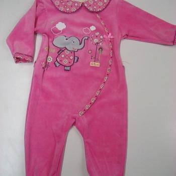 pyjama velours rasé rose avec éléphant eskimo
