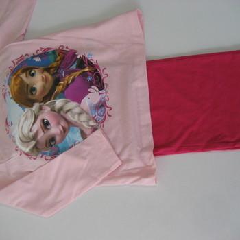 pyjama coton jersey pour fille de 2 à 9 ans - reine des neiges rose