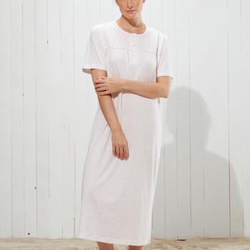 robe de nuit courtes manches coton pour dame - aria - aussi en grandes tailles