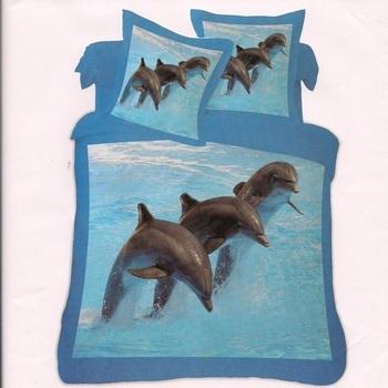 housse de couette 1.40*2m + 1 taie en polyester-coton - dauphins