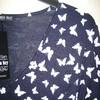 robe manches 3/4 marine avec papillons pour dame - reste S