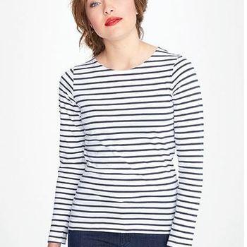 t-shirt longues manches marin pour dame en coton