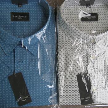 chemise courtes manches henderson ciel ou blanc avec petits motifs - pour homme