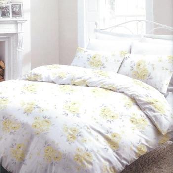 drap plat + drap housse + 2 taies en coton de belle qualité pour lit de 2 personnes - fleurs jaunes