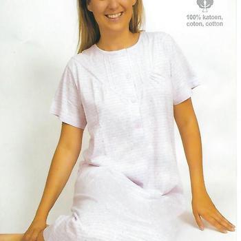 robe de nuit courtes manches en coton jersey pour dame - pointillés