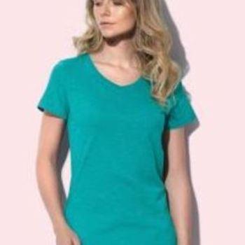 t-shirt courtes manches en coton flammé pour dame - vert