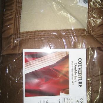 couverture laine 180*220cm pour lit d'1 personne brun-beige
