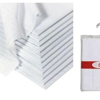 mouchoirs 40*40cm blancs : 6 pour 2.80€