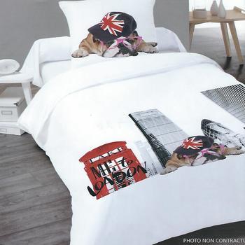 housse de couette 1.4*2m + 1 taie en tergal (polyester-coton) pour lit d'1 personne - dog in london