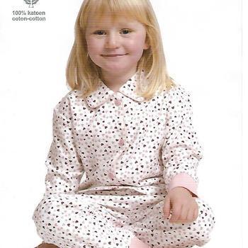 pyjama boutonné flanelle pour filles - coeurs rose - reste 2 ans 6 ans