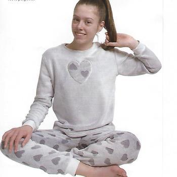 pyjama polaire fluffy gris avec coeurs pour filles de 8 ans