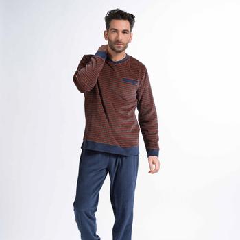pyjama velours rasé pour homme - en V - aussi en grandes tailles - jusque 4XL - moose
