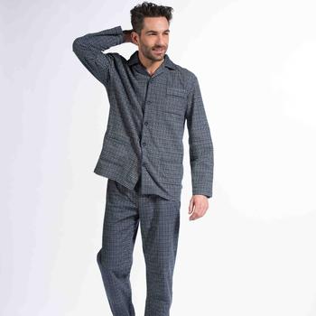 pyjama boutonné flanelle pour homme - hubb - gris ou marine