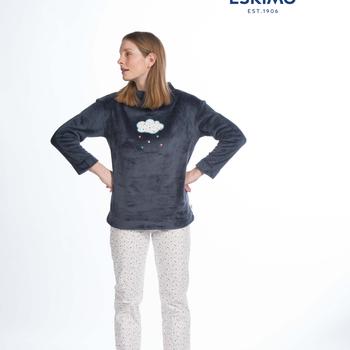 pyjama polaire fluffy avec pantalon flanelle pour dame - reva EN PROMO reste S - M - L