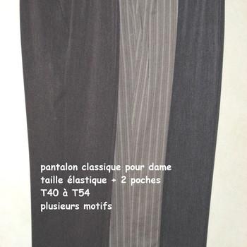 pantalon avec poches et taille élastique - dessin dans le tissu - pour dame en PROMO - jusque taille 54