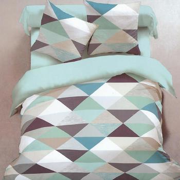 housse de couette + 1 taie en flanelle pour lit d'1 personne - triangles vert