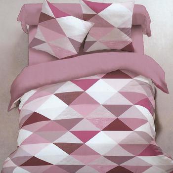 drap plat + drap housse + 1 taie pour lit d'1 personne - flanelle - triangles rose