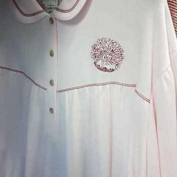 robe de nuit molletonné pour dame - col polo rose - fabrication belge - reste 3XL