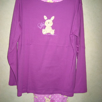 pyjama veste coton lourd + pantalon flanelle pour dame - 2 coloris - lapin
