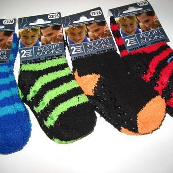 chaussettes anti-dérapente pour enfants lignées : 2 paires pour 2€